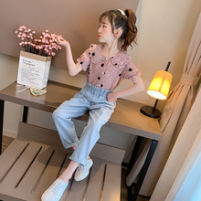 girls clothing set polka dot kids tops with mathing leggings 2018 spring children outfits 4 10 15 years girls clothes sets Girls Clothes Sets Summer Teen Kids Lapel Dot Tops & Denim Pants Two Piece Suit Children Clothing Girls Outfits 4 6 8 12 Years