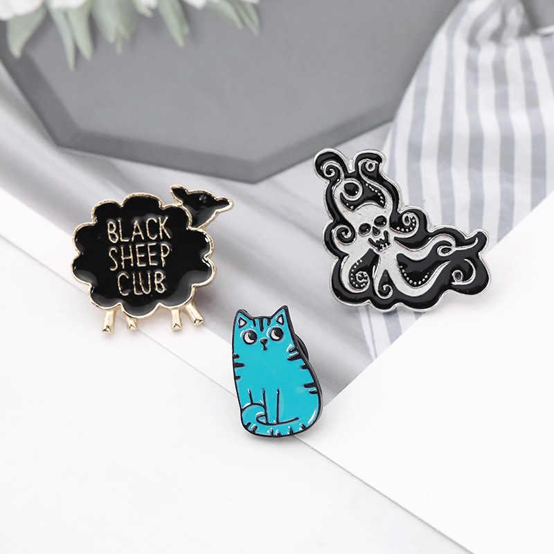 漫画猫リトル羊タコ woemn 素敵なブローチ動物バッジエナメルスカーフピンヒジャーブピンデニムジャケットバックパックジュエルギフト