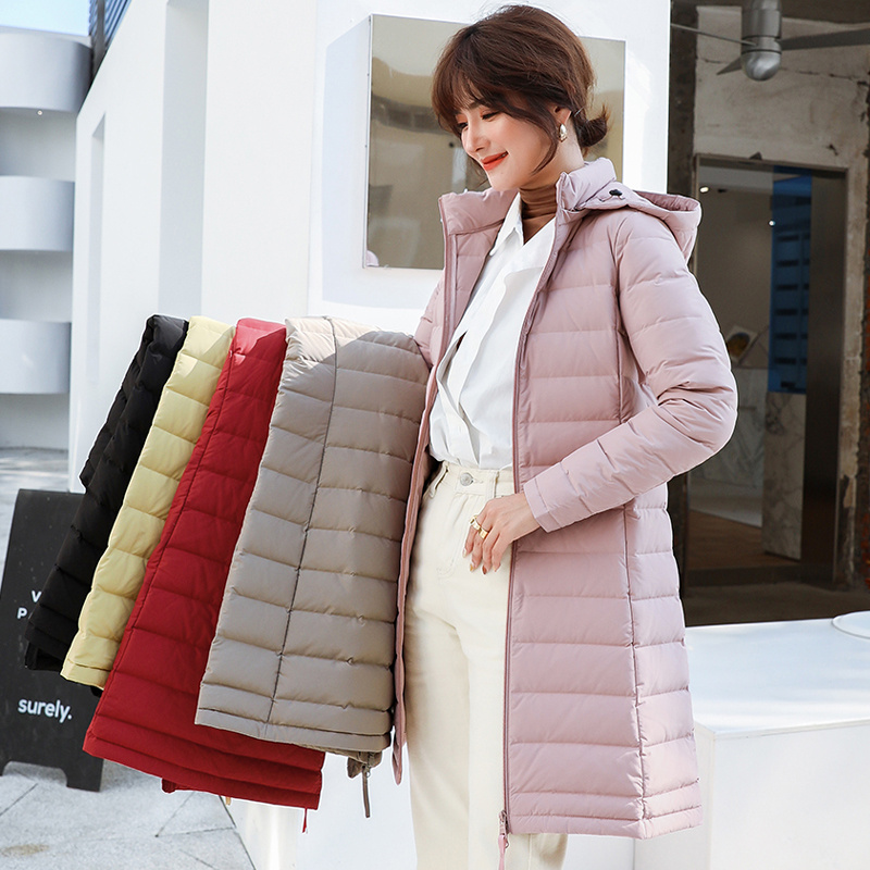 Long Hooded Duck Down Jacket Matt Fabric Padded Warm Coat Seamless Waterproof Outwear 90% White Duck Down