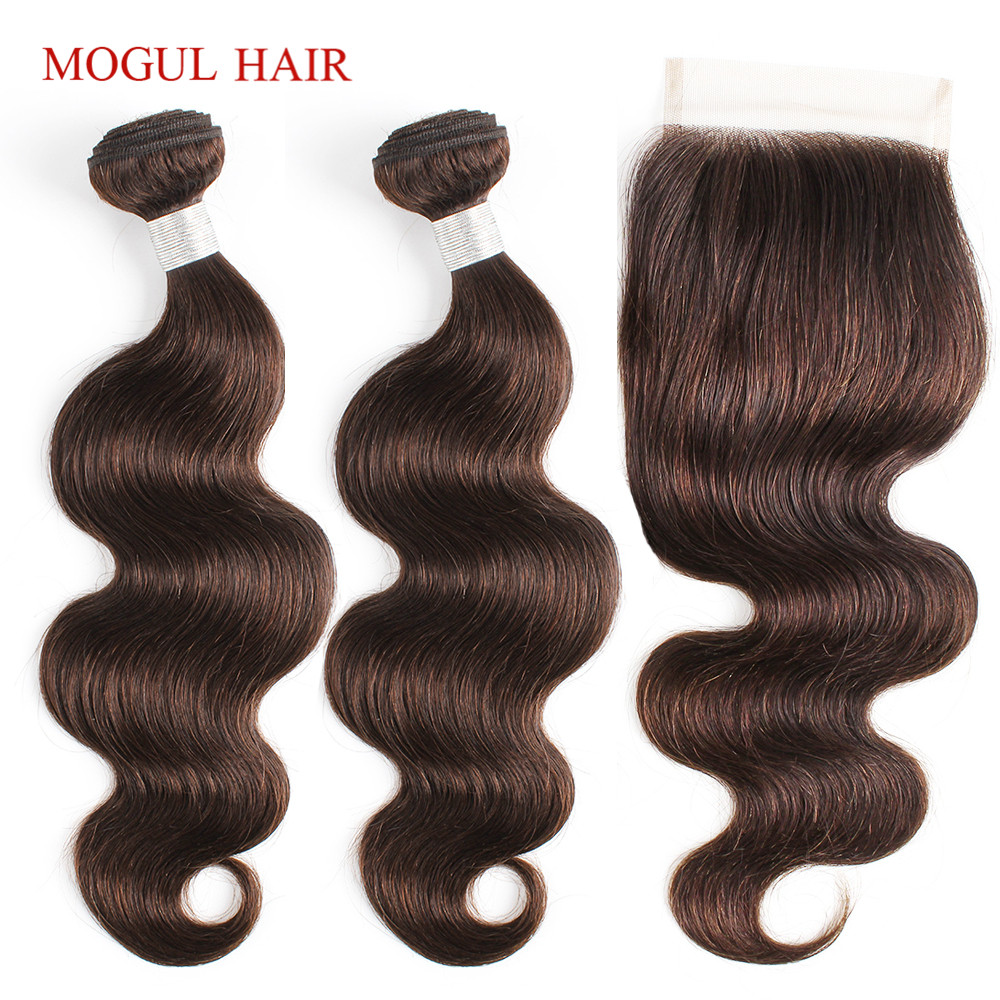 Mogul Hair Brazilian Body Wave Bundles With Closure Bundles With Closure Non Remy Human Hair Natural Black Color 2 Dark Brown