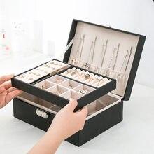 Double-Layer Velvet Jewelry Box With Lock Large Capacity Leather European Jewelry Storage Organizer Box Jewelry Holder Gift Box