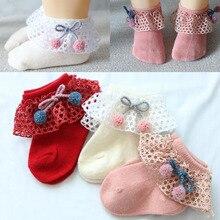 Новые кружевные носки принцессы с кружевом детские носки хлопковые повседневные милые для малышки преддошкольного возраста стопы Носки