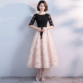 New Arrival Elegant Evening Party Prom Dresses Tea-length Gown A-line Satin Lace Robe De Soiree Half Lace Sleeves