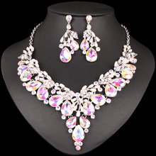 Fashion Austrian Crystal Necklace Earrings Indian Luxury Bridal Jewelry Sets Wedding Party Prom Costume Jewellery Gift for Women недорого