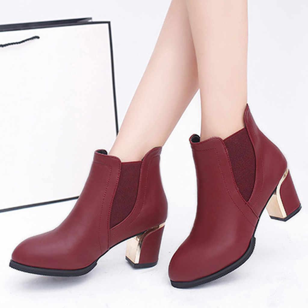 Elastik bant yarım çizmeler kadınlar için moda sivri burun yüksek topuk kısa çizmeler kış kadın ayakkabı anneler patik şişeler Femme