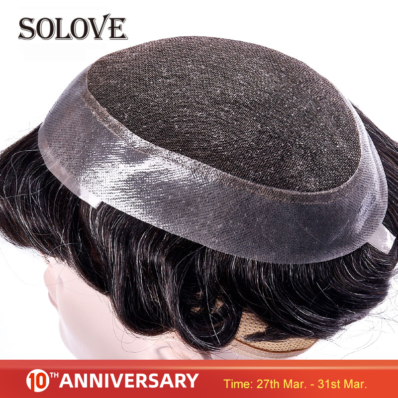 Swiss Lace & PU Toupee Replacement Systems Handmade Mens Toupee Hairpiece Natural Remy Indian Human Hair