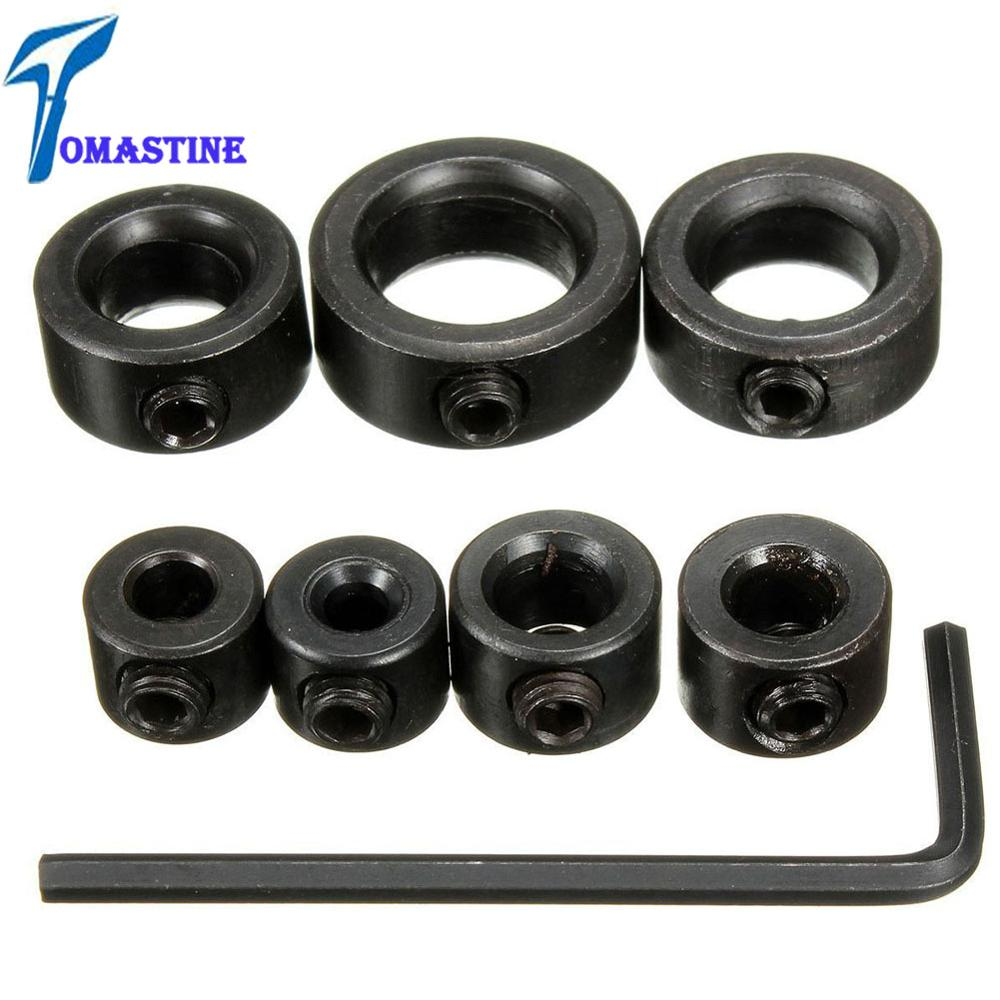 8pcs/Lot 3-12mm Drill Bit Carbon Steel Drill Bit Limiter Locator Ring Depth Stop Collar Ring Positioner Hex Wrench Woodwork Tool