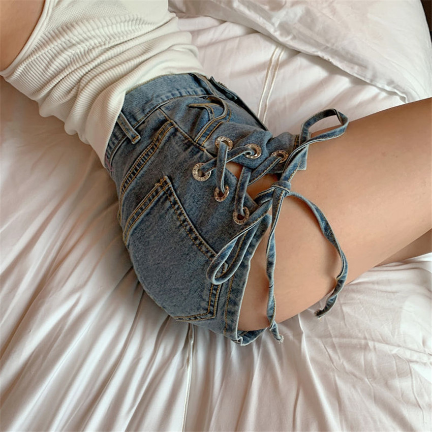 Sexy Bandage Denim Shorts Women Lace Up Pocket Jeans Shorts Korean Fashion Summer Hot Shorts