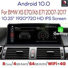 Автомобильный мультимедийный плеер Snapdragon, 10,25 дюйма, Android 10, для BMW X5 E70 F15/X6 E71 F16 (2007-2017) с BT Wi-Fi 4G 1920*720P