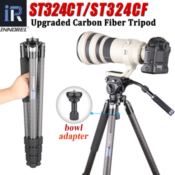ST324CT/ST324CF Carbon Fiber Camera Tripod Professional Birdwatching Heavy Duty Tripod with Bowl and Adapter for DSLR Camcorder heavy duty carbon fiber tripod for dslr camera af80c professional camera stand 65mm bowl adapter fast flip lock 20kg max load
