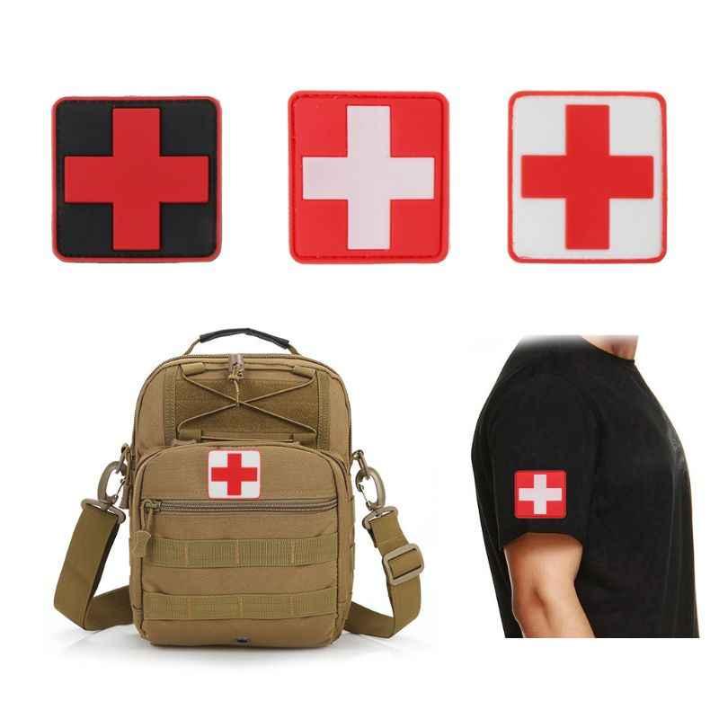 3pc PVC バッジ 3D スイス国旗赤十字ゴムパッチ医療救助士気腕章