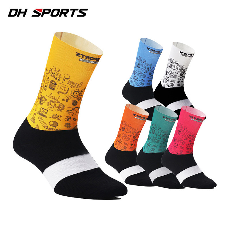 New Mesh Fabric Cycling Socks for Men Road Bike Racing Riding Breathable Sock Anti Slip Compression Hiking Sports Wear Socks