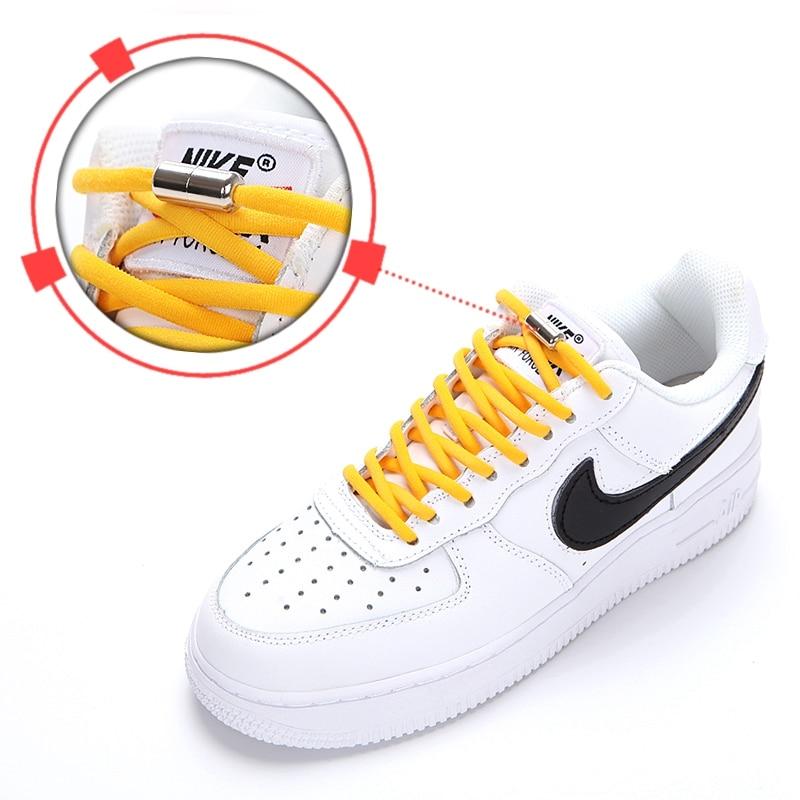 1Pair Elastic Semicircle Shoelaces Locking Shoelaces Sneakers Shoe Laces Quick No Tie Shoelace Kids Adult Shoelace 21colors