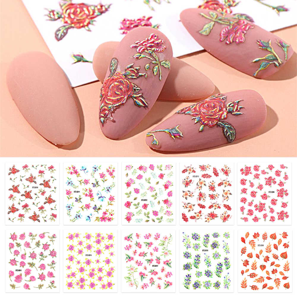 1pc New Blooming Flowers Leaves Nail Art Sticker Maple Leaf Grass 5D Acrylic Self Adhesive Decal Spring Autumn Plant Slider