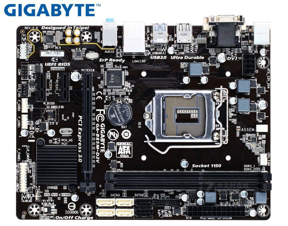 Desktop Motherboard Gigabyte GA-B85M-D2V For Intel LGA 1150 DDR3 B85M-D2V USB2.0 USB3.0 16GB DVI VGA B85 Used PC  Computer.