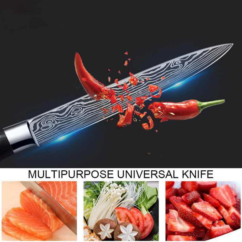 8 ''นิ้วมีดเชฟญี่ปุ่นสแตนเลสขัดรูปแบบเลเซอร์มีด Professional SHARP ใบมีดมีดทำอาหารเครื่องมือของขวัญ