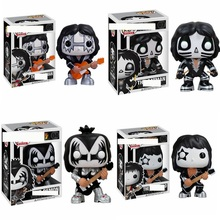 Funko POP vinyl toys KISS Guitarist Bass Drummer Demon Catman PVC Action Figure collection Model Kids fans birthday gift Toys 2017 funko pop batman action figure toys plastic vinyl figures desk toys birthday christmas gift for kids children