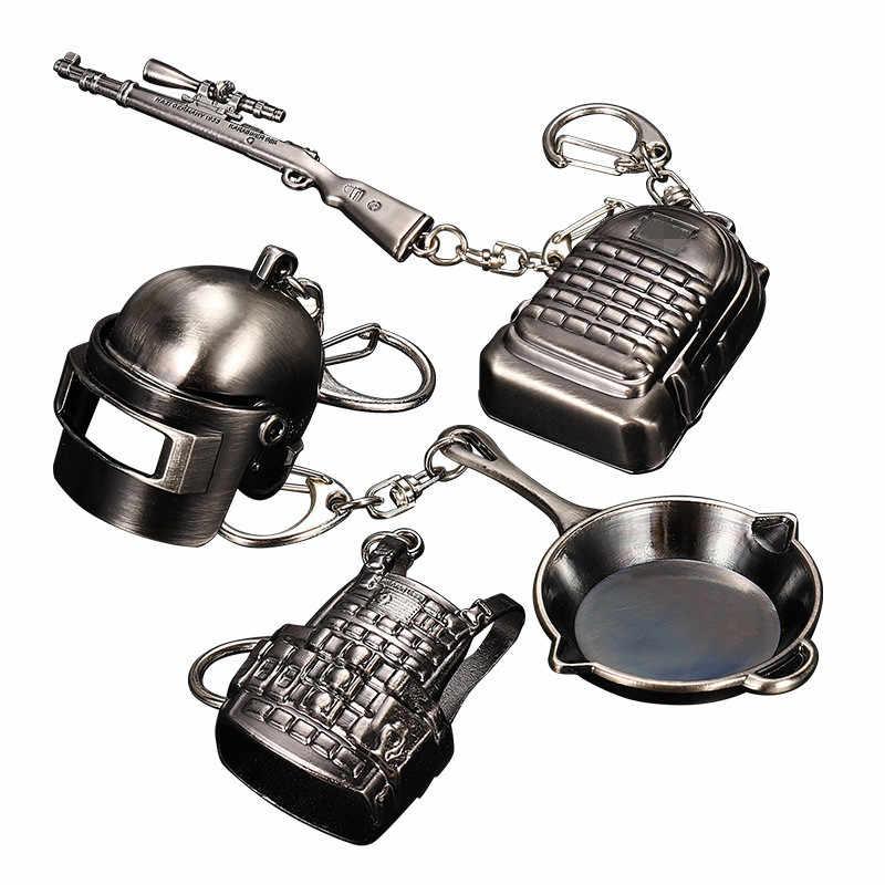 Oyun PUBG anahtarlık Playerunknown savaş seviye 3 kask sırt çantası tencere alaşım Cosplay sahne aksesuarları