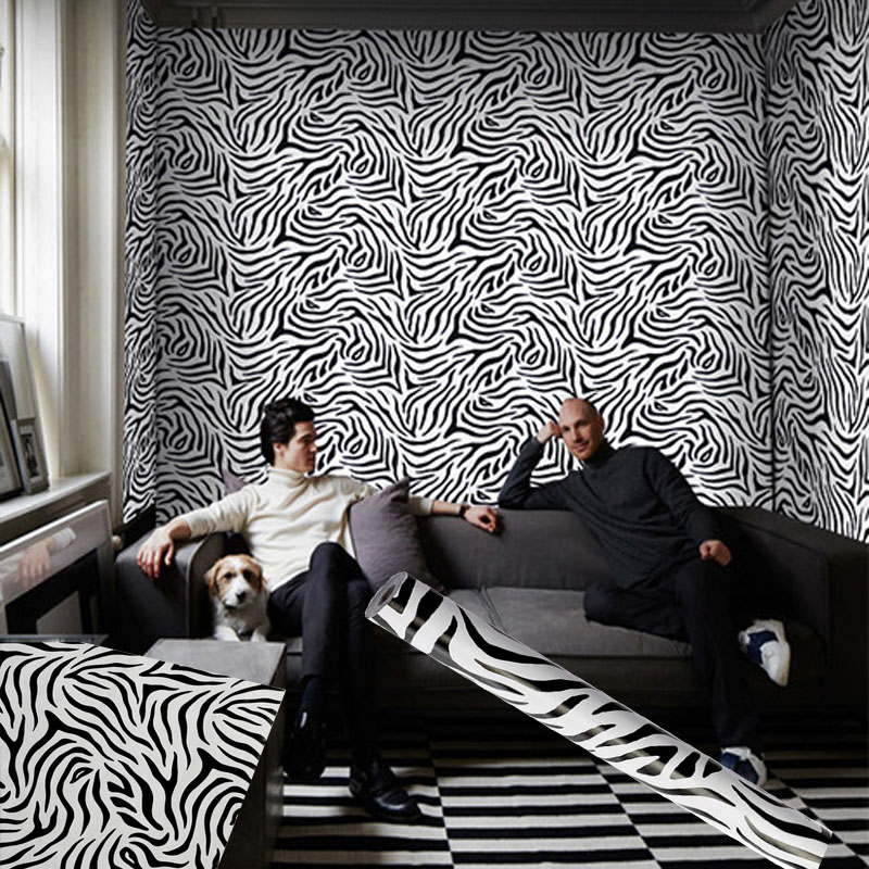 10 Meters Self Adhesive Wallpaper Waterproof Zebra Pattern Wall Paper Stickers Home Decoration