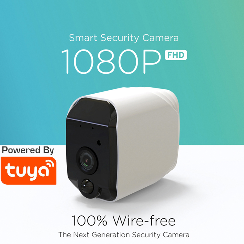 100% Wire-Free Tuya WiFi Battery Powered 1080P IP65 Outdoor Indoor Security PIR Full HD Camera Two Way Audio Tuya Camera FHD