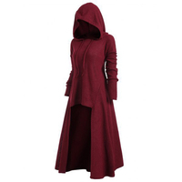 2019 Fall Plus Size Loose Long Women Winter Dress Solid Vitage Long Sleeves Hooded 4xl 5xl Red Dress Elegant