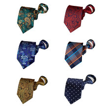 YISHLINE - NEW Mens 100% Silk Ties 8CM Zipper Lazy Tie for Man Floral Paisley Great Hand Feeling wedding party Accessories
