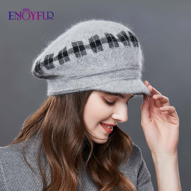 ENJOYFUR Rabbit Knitted Women's Hats Warm Thick Visors Cap For Winter High Quality Plaid Middle-Aged Lady Caps Casual Hat Female