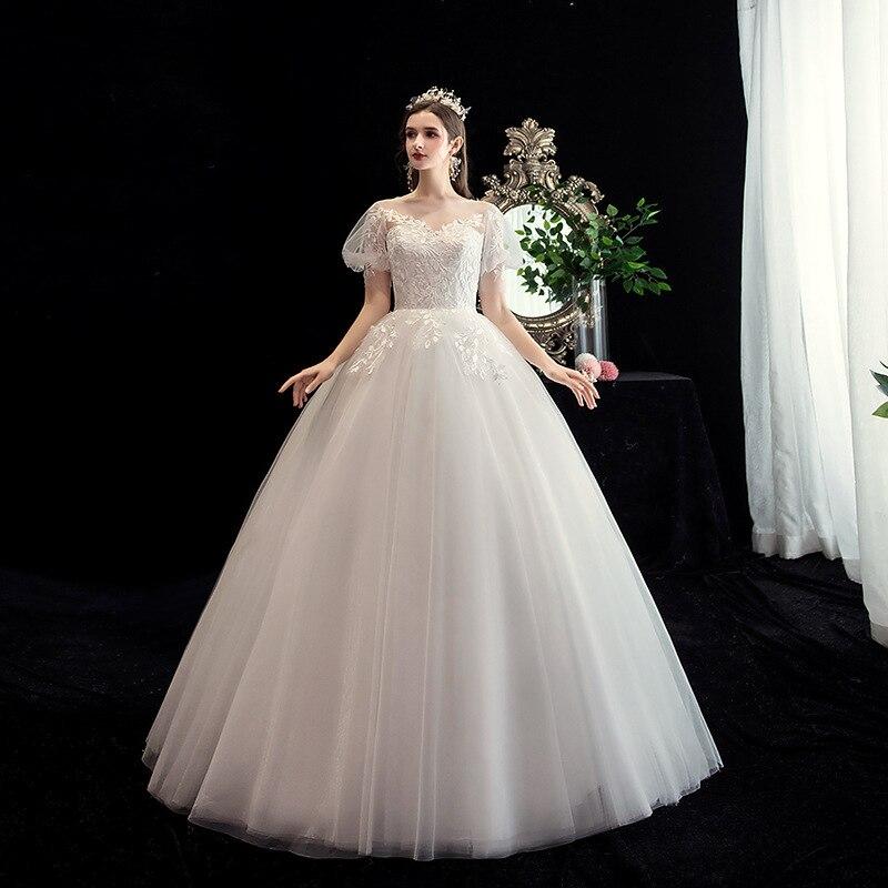 2020 Wedding Dress Short Puff Sleeve O-neck Lace Up Ball Gown Princess Vintage Lace Wedding Dresses Custom Size Bride Dress