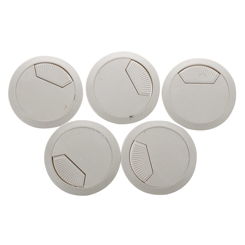 5 Piece Office Desk Table Computer 60 Mm Cable Pin Hole Cover- Gray