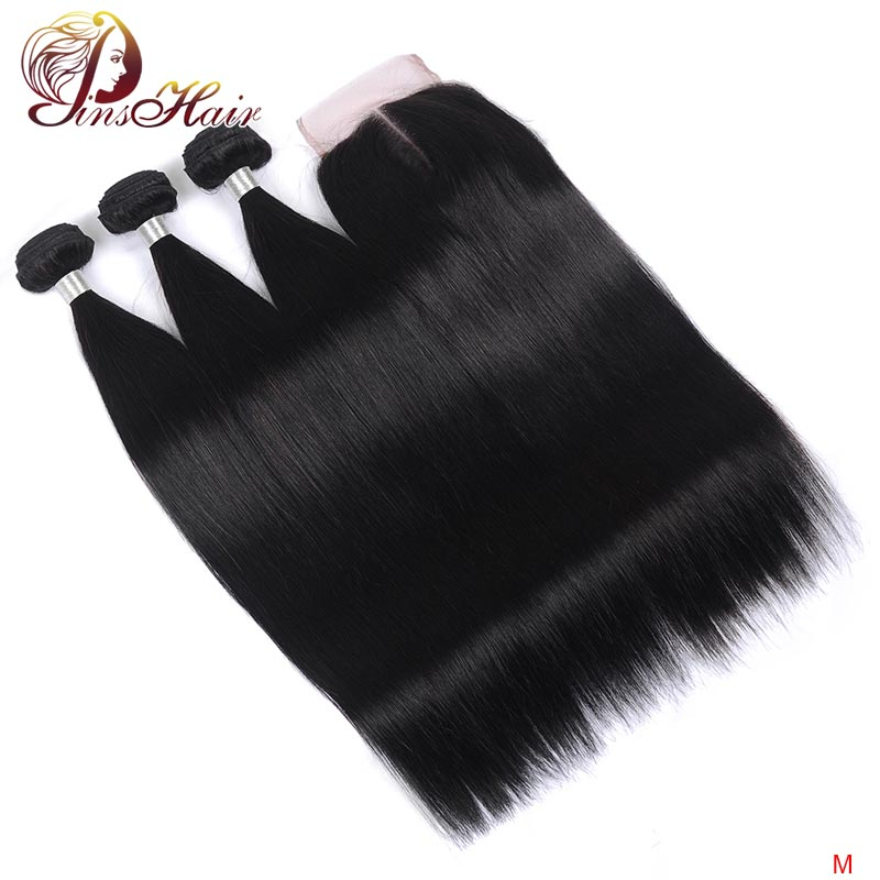 Peruvian Human Hair Bundles With Closure Straight Hair Bundles With Closure Pinshair Remy Hair Weave Bundles With Lace Closure