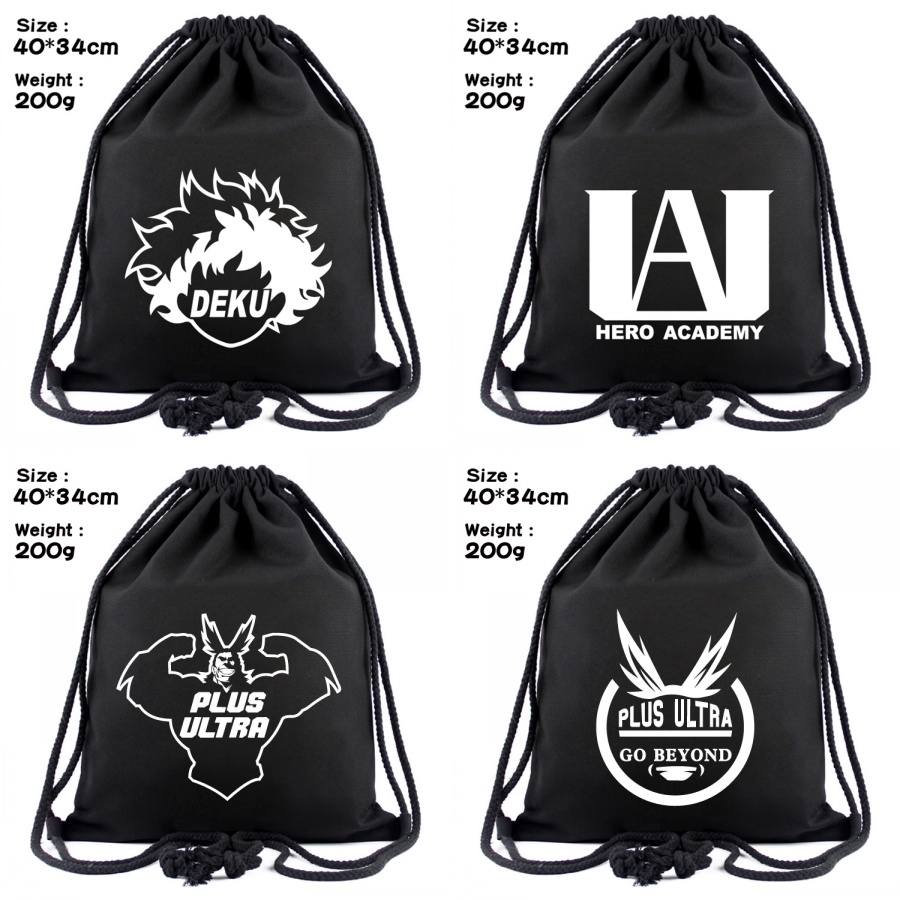 Anime My Hero Academia Canvas Drawstring Bag Midoriya Izuku Women Backpack Cosmetic Stringbag Boys Girls Beach Bag Shoes Pouch