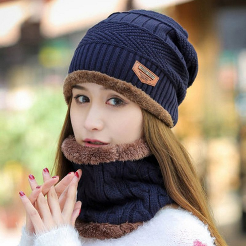 Men Women Fashion Winter Warm Knit Baggy Beanie Hat Ski Cap Scarf Set Hat Neckerchief Beanie