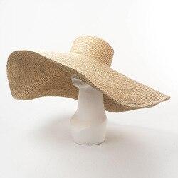 Vacanza Modellazione Cappello di Rafia di Grandi Dimensioni Grandi Donne del Bordo Cappelli Della Spiaggia Della Cupola e Flat Top
