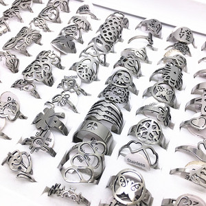 Image 5 - MixMax 50pcs Mix Styles Punk Laser Cut Design Stainless Steel Rings for Men Women Wholesale Gold Black Multicolor Silver Color