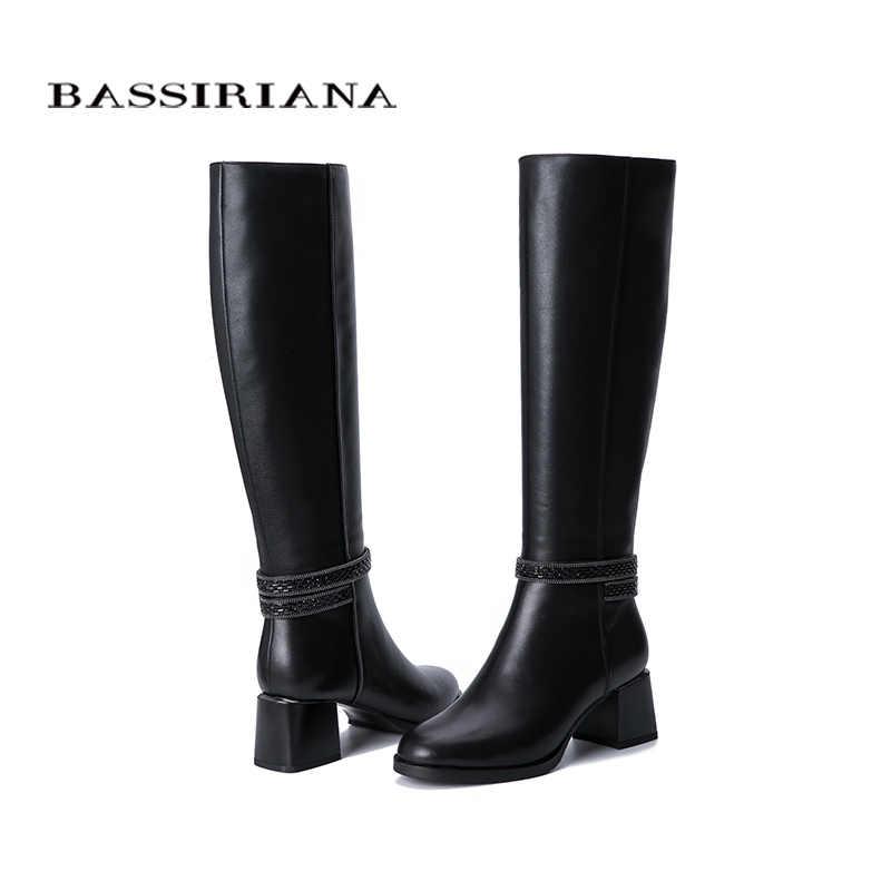 BASSIRIANA2019 חורף חדש נשים של מגפיים. חם טבעי פרווה. להילחם פרווה. גומי החלקה תחתון. נעליים שטוחות.