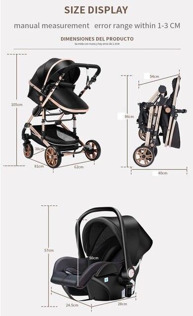 Carrinho de bebê 3 em 1 luxo guarda-chuva bebê recém-nascido carrinhos alta paisagem dobrável carrinhos de bebê carrinho de bebê carrinho de bebê 5