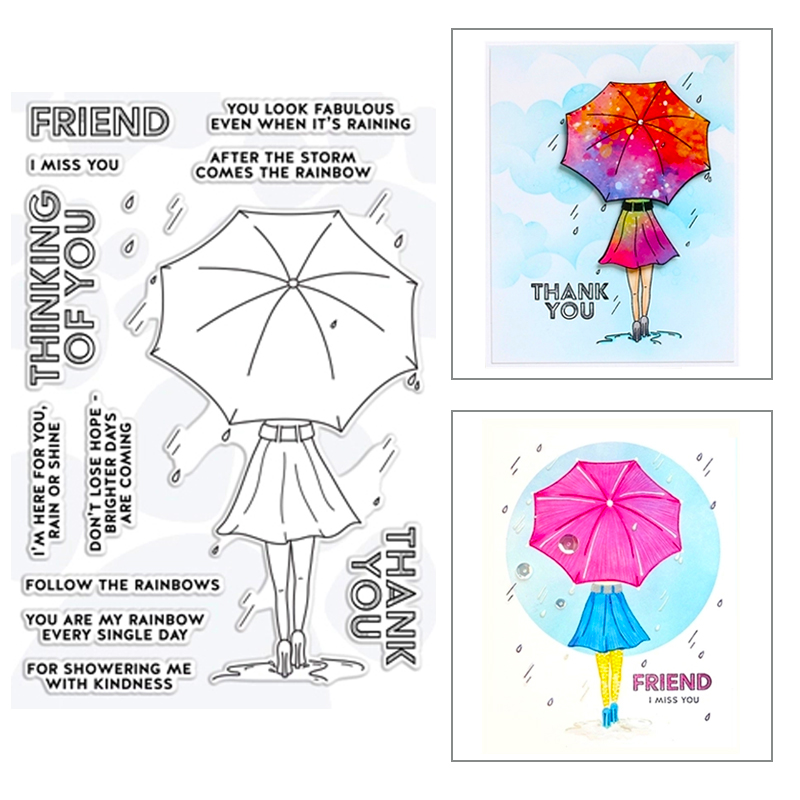 2020 New Hot Umbrella Girl Skirt High Heels Stamps And Metal Cutting Dies Sentiment Thank You Scrapbooking Foil For Card Making