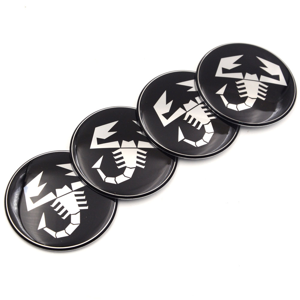 New 4 Piece Silicone Hub Caps Sticker Scorpion Emblem 58 MM