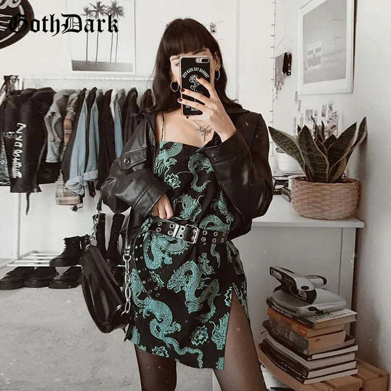 Goth Dark Sexy Print Bodycon Vrouwen Jurk Zomer Mode Vintage Streetwear Off Shoulder Mini Jurk Gothic Backless 2020 Emo