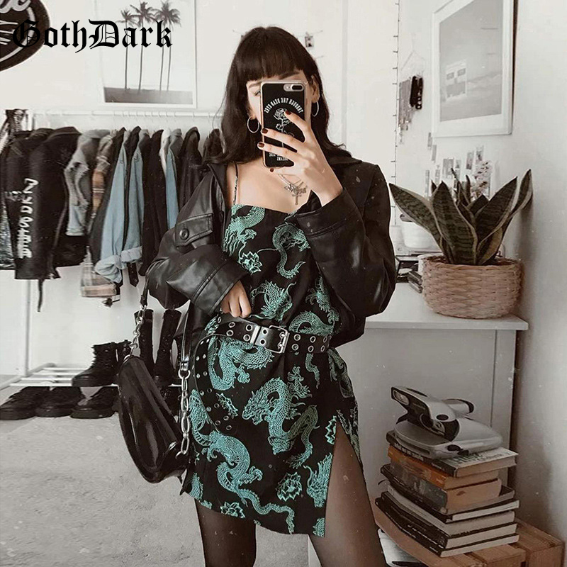 Goth Dark Sexy Print Bodycon Women Dress Summer Fashion Vintage Streetwear Off Shoulder Mini Dress Gothic Backless 2020 Emo