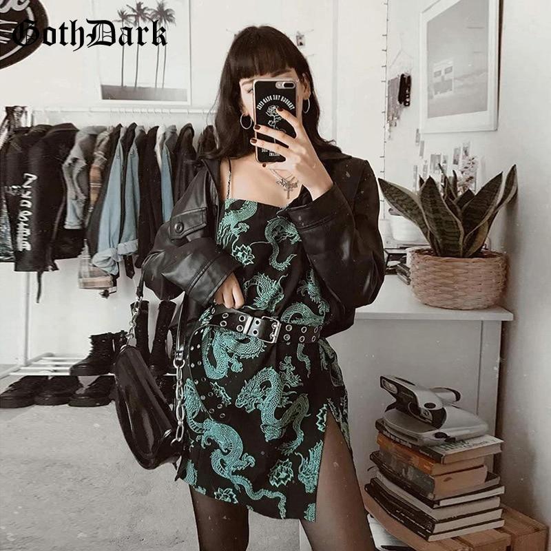Goth Dark Sexy Print Bodycon Women Dress Summer Fashion Vintage Streetwear Off Shoulder Mini Dress Gothic Backless 2020 Emo