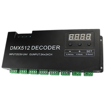 24 チャンネル RGB DMX 512 デコーダデジタルディスプレイ 72A 調光 PWM ドライバ RGB ストリップコントローラと Dmx RJ45 入力 DC5V 24V