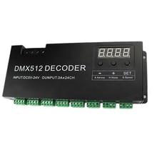 Decodificador RGB DMX 512 de 24 canales con pantalla Digital, atenuador de 72A, controlador PWM, controlador de tira RGB, DMX con DC5V 24V de entrada RJ45