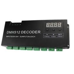 Decodificador de 24 canales RGB DMX 512 con pantalla Digital 72A controlador PWM controlador de tira RGB DMX con DC5V-24V de entrada RJ45