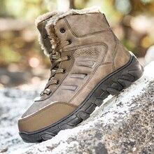 Loveontop/мужские рабочие зимние ботинки ботильоны на меху большого размера Теплая мужская обувь из натуральной кожи с коротким плюшем Новинка года