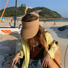 New Women Ladies Summer Weave Straw Empty Top Beach Cap Solid Color Large Wide Brim UV Protection Sun Visor Hat Adjustable Size