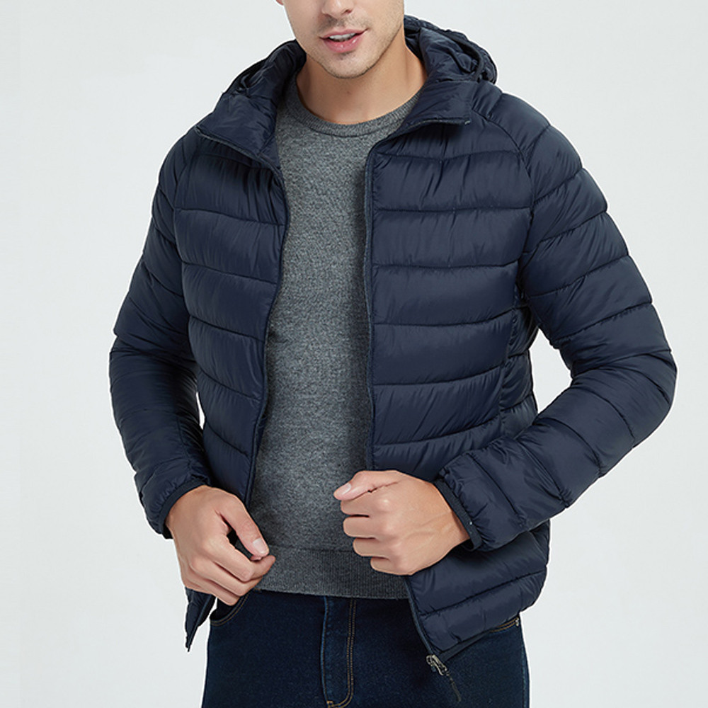 Hb798e0e68d6e40dbbfa4fa7317ec5496S Jacket Men Autumn Winter Style Light Weight Overcoat Outerwear Coats Cotton Warm Hooded Men's Jacket Coat chaqueta hombre S-2XL