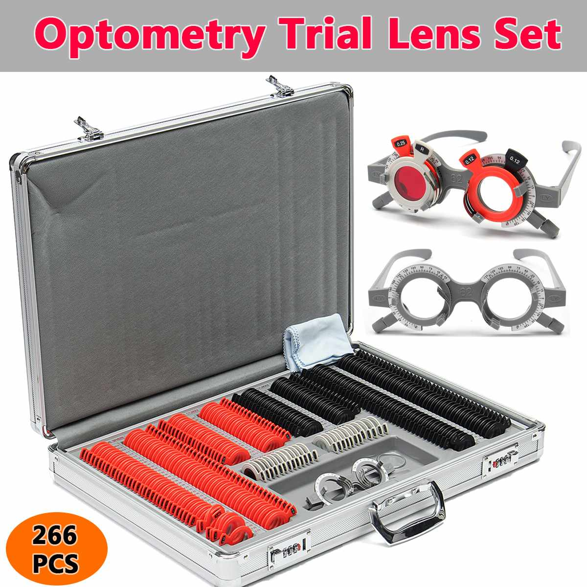 266Pcs Optical Trail Lens Adjustable Optometry Metal Rim Case Kit Eye Test Set Ophthalmologist Optometry Test Trial Frame Glass