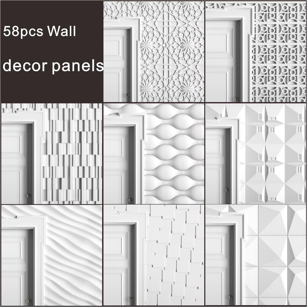 58pcs Wall_decor_panels 3d STL Model Relief For CNC Router Aspire Artcam _ Wall Decor Panels For 3D Printer