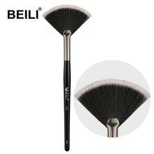 BEILI 1 piece Black Fan brush Eye brow Brush fan Lip Highlighter Eye lash Comb Brush